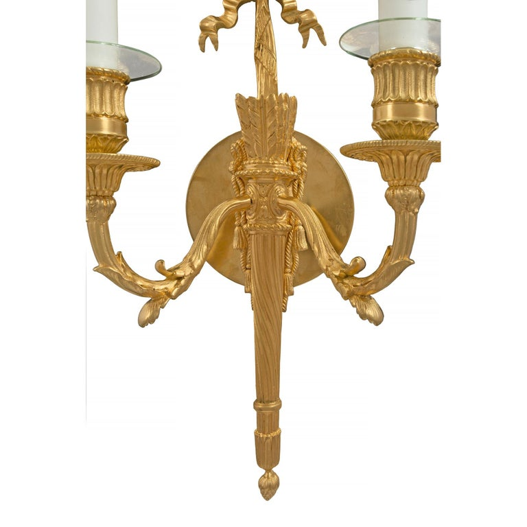 Pair of French 19th Century Louis XVI Style Two-Arm Ormolu Sconces For Sale 3