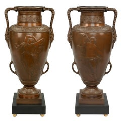Pair of French 19th Century Neoclassical Bronze Urns Attributed to Barbedienne