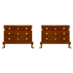 Pair of French 19th Century Neoclassical Mahogany, Ormolu and Marble Chest