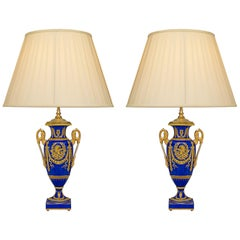Pair of French 19th Century Neoclassical Style Porcelain Lamps