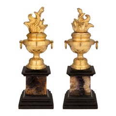 Pair of French 19th Century Ormolu, Blue John and Black Belgian Marble Urns