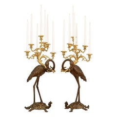Pair of French 19th Century Patinated Bronze and Ormolu Candelabras