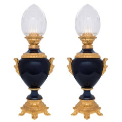 Pair of French 19th Century Renaissance Style Porcelain and Crystal Lamps