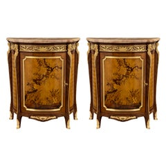 Pair of French 19th Century Transitional Style Tulipwood and Kingwood Cabinets