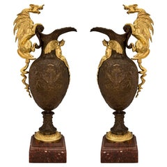 Pair of French 19th Renaissance Style Ormolu, Bronze and Marble Ewers