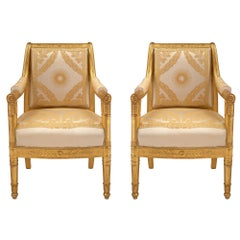 Pair of French First Empire Style Giltwood Armchairs, circa 1805