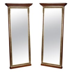 Pair of French 20th Century Brass and Oak Mirrors