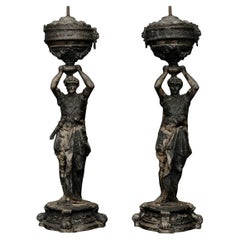 Pair of French Architectural Caryatid Figures in Cast Spelter