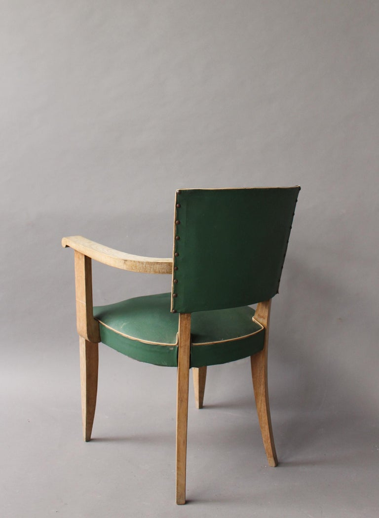 Beech Pair of French Art Deco Armchairs For Sale