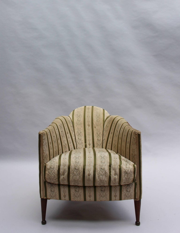 Early 20th Century Pair of French Art Deco Armchairs For Sale