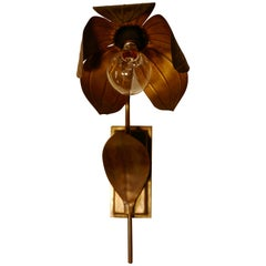 Pair of French Art Deco Toleware Sunflower Wall Lights