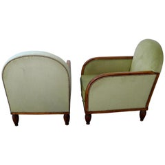 Pair of French Art Deco Walnut Upholstered Club Chairs
