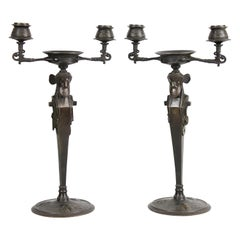 Pair of French Bronze Candelabra in the Assyrian Style, circa 1900