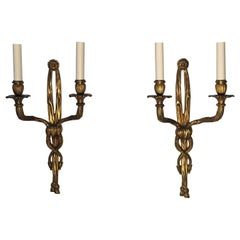 Pair of French Bronze Louis XVI Style Wall Sconces