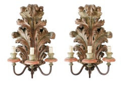 Pair of French Carved and Painted Acanthus Leaf Three Light Wall Sconces