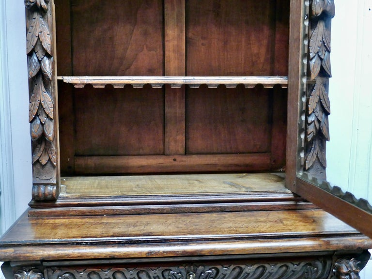 Pair of French Carved Gothic Oak Bookcases For Sale 8