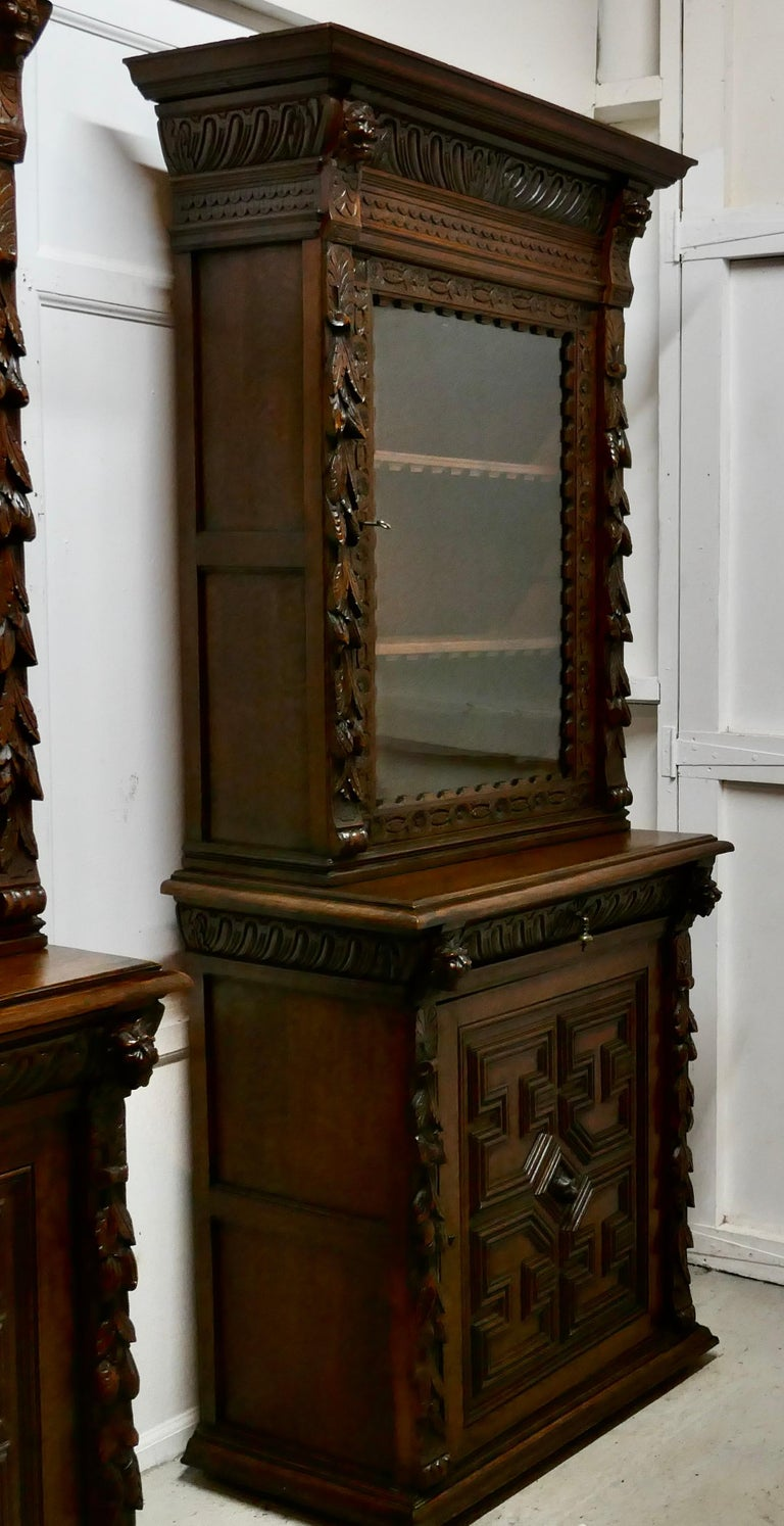 Pair of French Carved Gothic Oak Bookcases In Good Condition For Sale In Chillerton, Isle of Wight