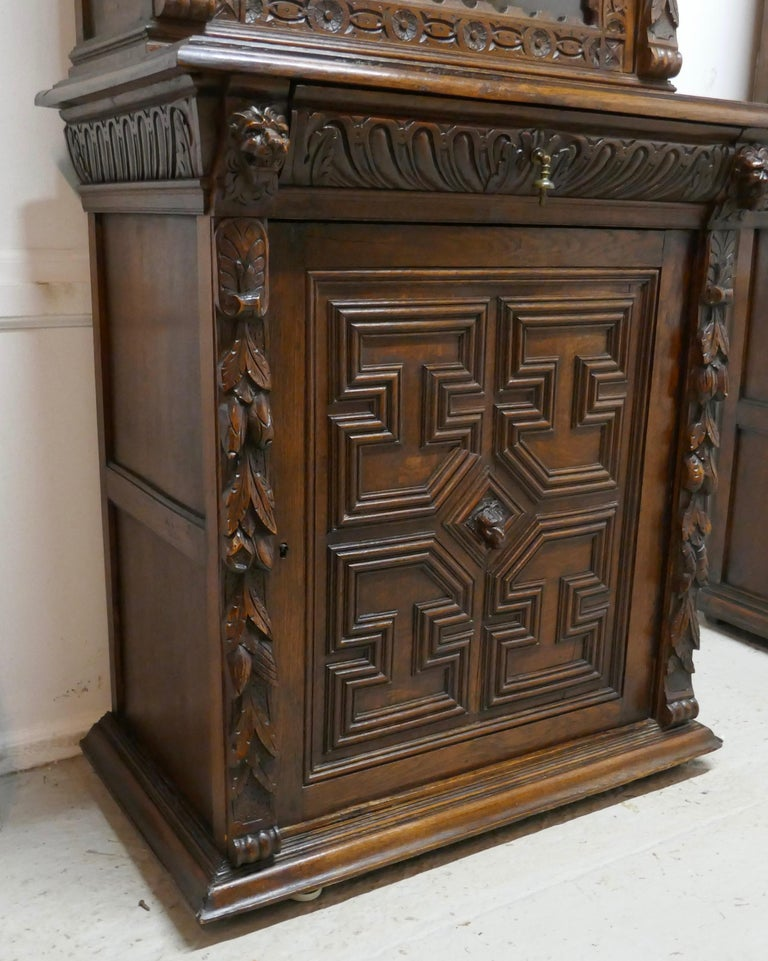 19th Century Pair of French Carved Gothic Oak Bookcases For Sale