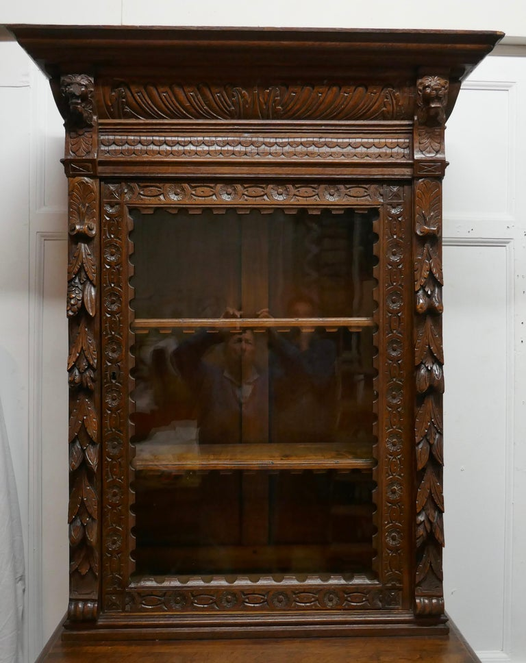 Pair of French Carved Gothic Oak Bookcases For Sale 1