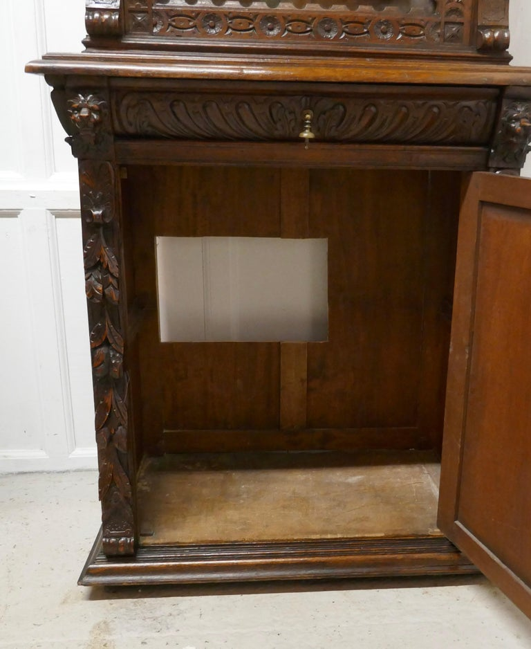 Pair of French Carved Gothic Oak Bookcases For Sale 2