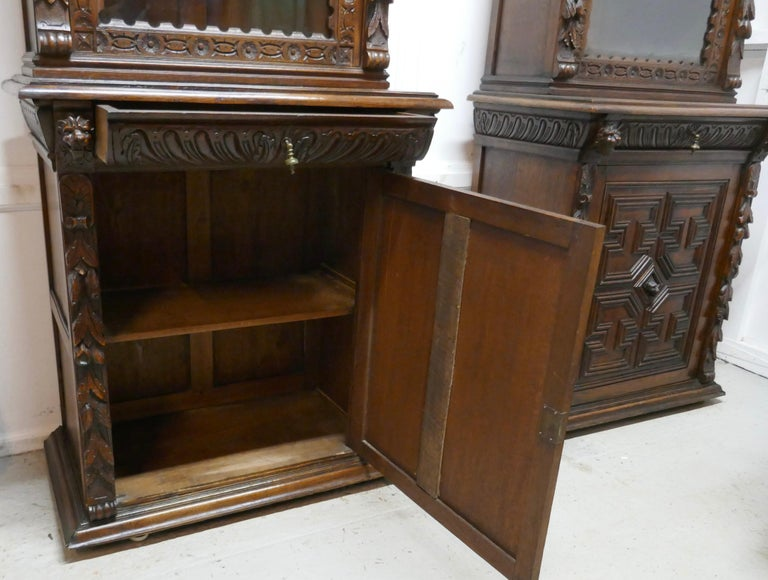 Pair of French Carved Gothic Oak Bookcases For Sale 3