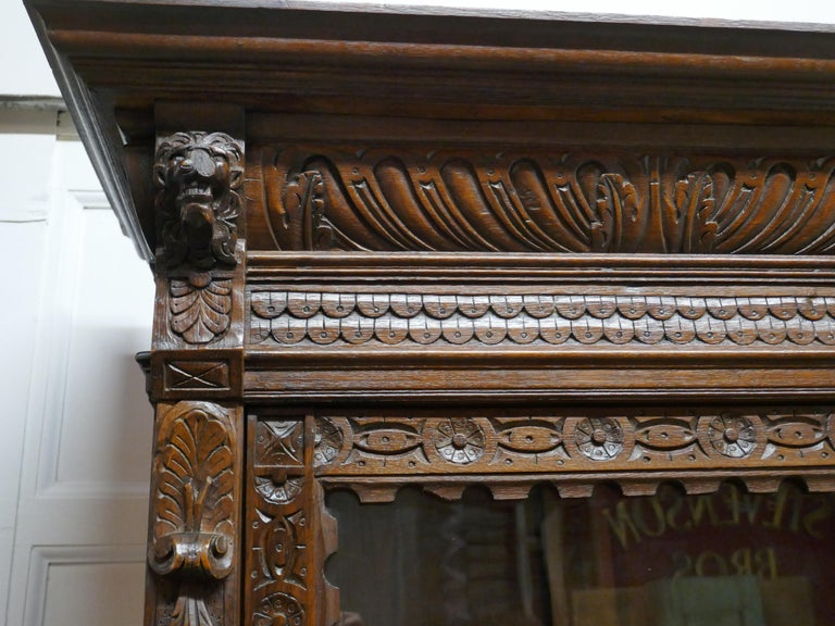 Pair of French Carved Gothic Oak Bookcases For Sale 4