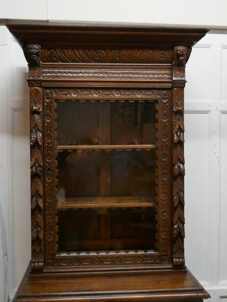 Pair of French Carved Gothic Oak Bookcases For Sale 5