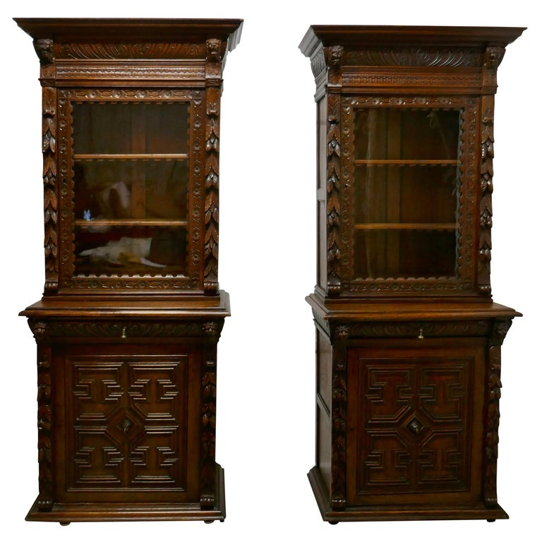 Pair of French Carved Gothic Oak Bookcases For Sale