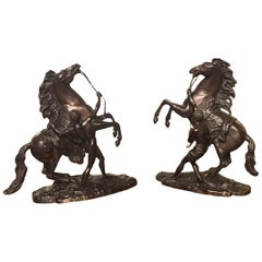 Pair of French Classical 19th Century Bronze Marley Horses