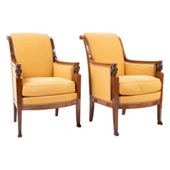 Pair of French Consulat Armchairs in the Egyptian Revival Taste