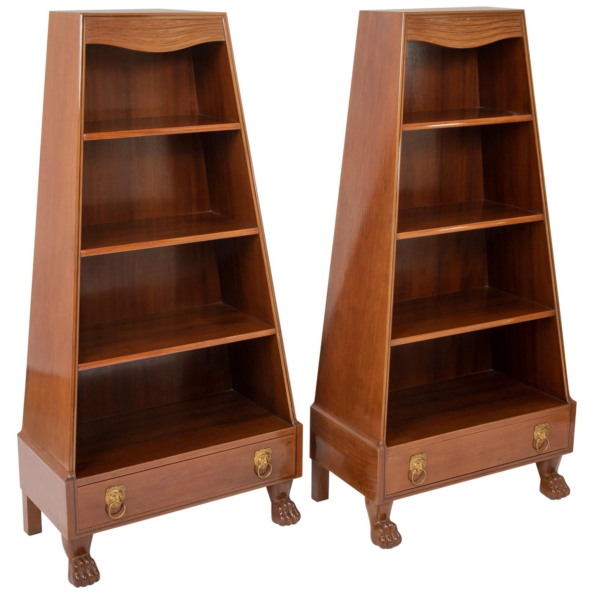 Pair of French Egyptian Revival Bookcases