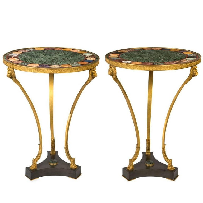 Pair of French Empire Gilt Bronze and Marble Gueridon For Sale