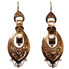 Pair of French Gold Buckle Earrings