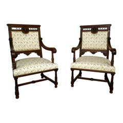 Pair of French Gothic Walnut Library Throne Chairs