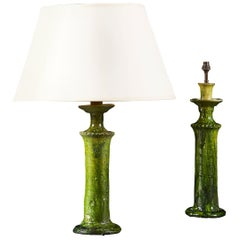 Pair of French Green Glaze Candlestick Lamps