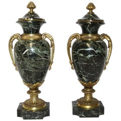 Pair of French Green Variegated Marble and Ormolu-Mounted Urns, circa 1900