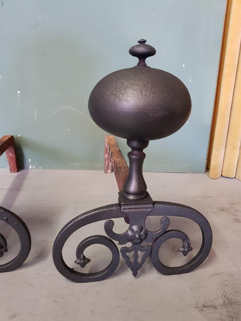 Pair of French Iron Andirons in Louis XIII Style, 20th Century In Good Condition For Sale In Raalte, NL