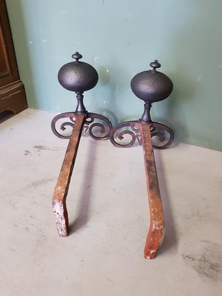Pair of French Iron Andirons in Louis XIII Style, 20th Century For Sale 1