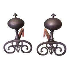 Pair of French Iron Andirons in Louis XIII Style, 20th Century