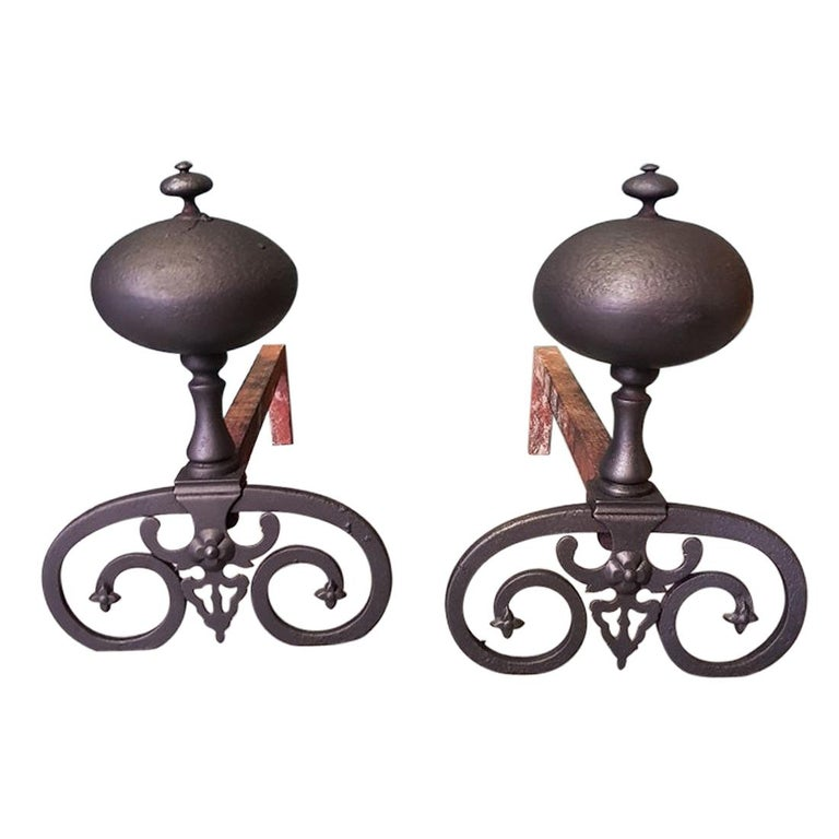 Pair of French Iron Andirons in Louis XIII Style, 20th Century For Sale