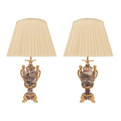 Pair of French Louis XV Style 19th Century Marble and Ormolu-Mounted Lamps
