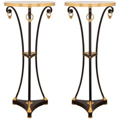 Pair of French Louis XVI Style Bronze, Ormolu and Carrara Marble Gueridon Tables