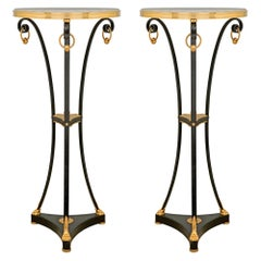 Pair of French Louis XVI St. Bronze, Ormolu and Marble Gueridon Side Tables