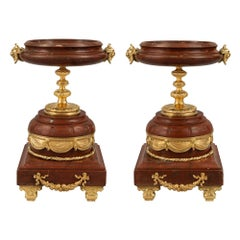 Pair of French Louis XVI St. Mid-19th Century Marble and Ormolu Tazzas