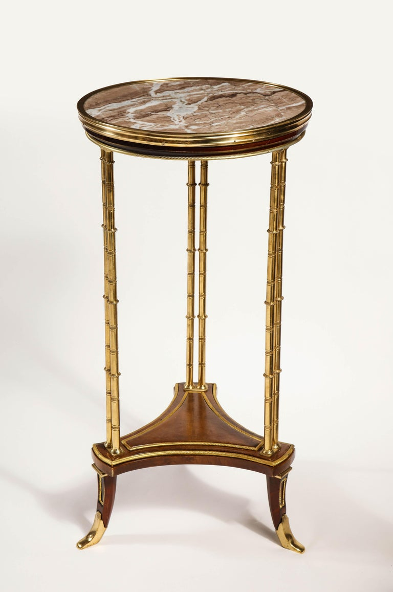 Pair of French Louis XVI Style Gilt Bronze, Mahogany and Marble Side Tables For Sale 5