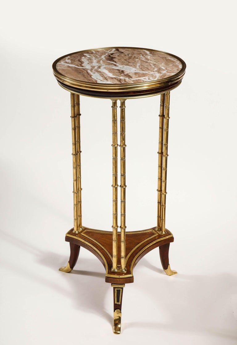 Pair of French Louis XVI Style Gilt Bronze, Mahogany and Marble Side Tables For Sale 6
