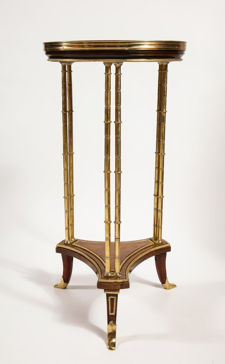 Pair of French Louis XVI Style Gilt Bronze, Mahogany and Marble Side Tables For Sale 1