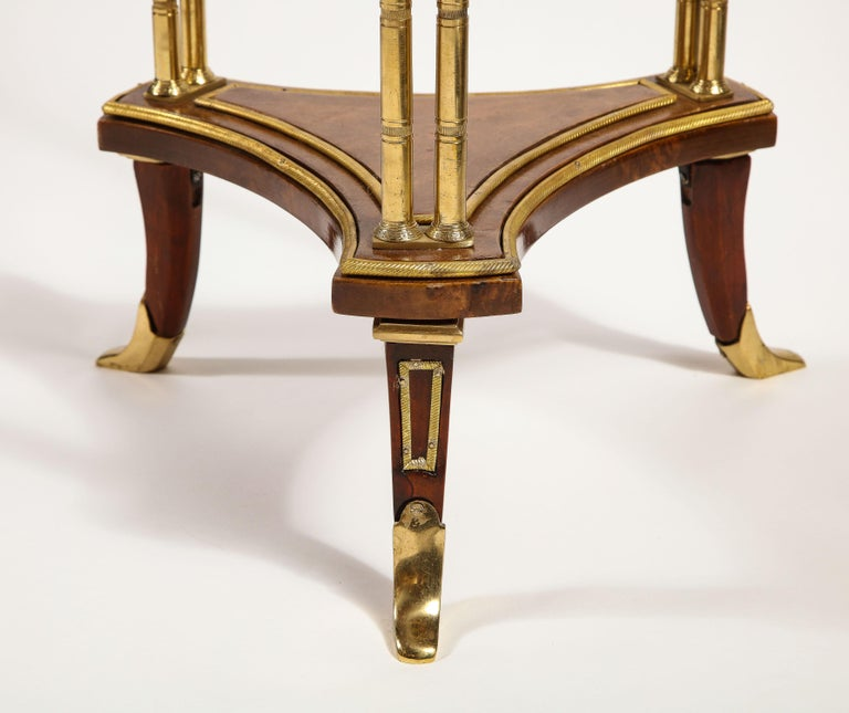 Pair of French Louis XVI Style Gilt Bronze, Mahogany and Marble Side Tables For Sale 2