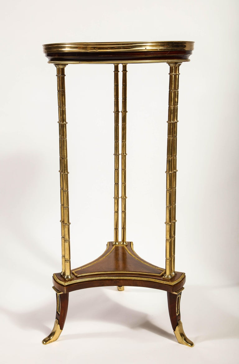 Pair of French Louis XVI Style Gilt Bronze, Mahogany and Marble Side Tables For Sale 4