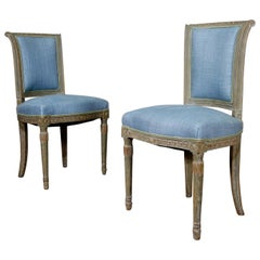 Pair French 19th century Louis XVI Style Upholstered Side Chairs Original Paint